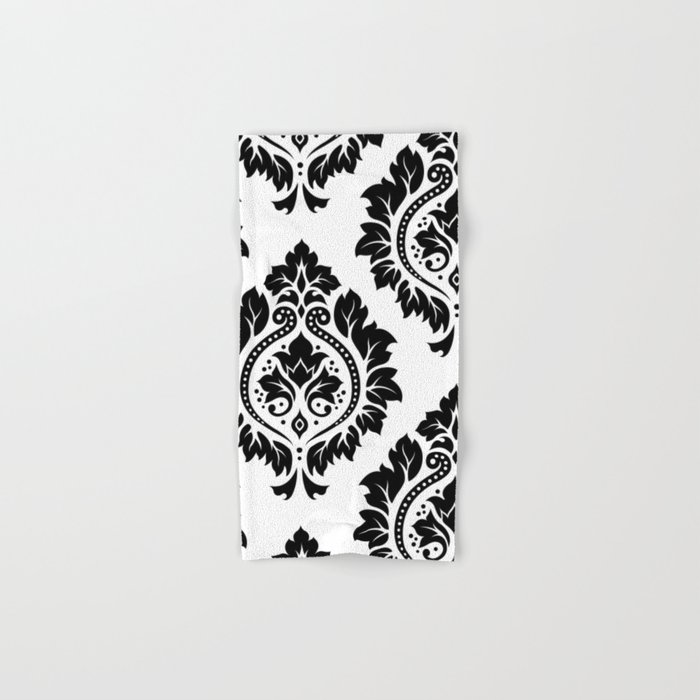 Decorative Damask Art I Black On White Hand Bath Towel By