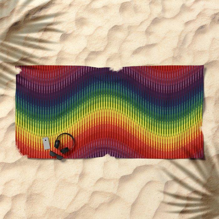 Rainbow Wave Beach Towel