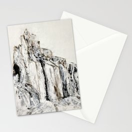 Abstract Landscape Painting Shiprock black white geometric Stationery Cards