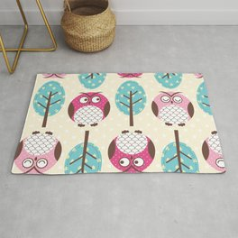 Cute owls and trees pattern Rug