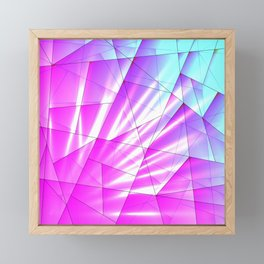 Bright sky fragments of crystals on irregularly shaped purple and blue triangles. Framed Mini Art Print