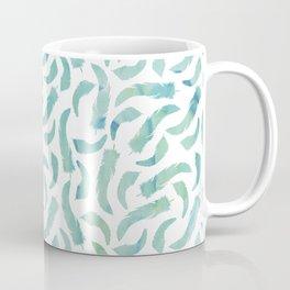 Green Watercolor Feathers Coffee Mug