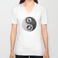 yin yang V-neck T-shirts featuring  Yin & Yang  by Owl Art Suri