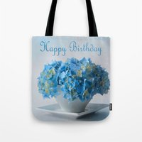 hydrangea Tote Bags featuring Hydrangea by Fine Art by Rina