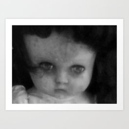 Creepy doll face Art Print