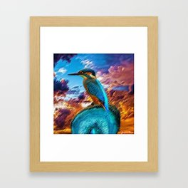 Kingfisher at Sunset on the African Plains Framed Art Print