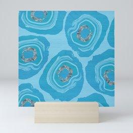 Sliced Blue Geode Eggs With Rose Quartz Accents Mini Art Print