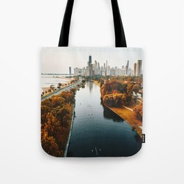 chicago aerial view Tote Bag
