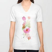 band V-neck T-shirts featuring Floral Band by Mai Autumn