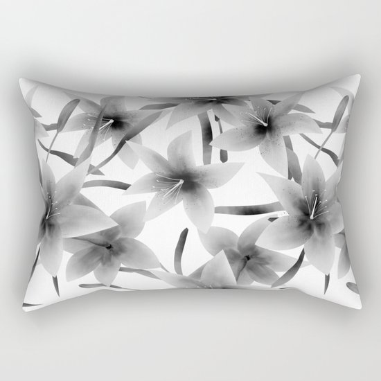 Lily. Black and white pattern . Rectangular Pillow