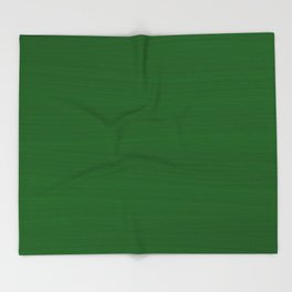 Emerald Green Brush Texture - Solid Color Throw Blanket