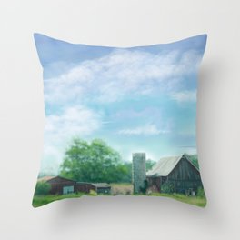 Farmstead Under Blue Skies Throw Pillow