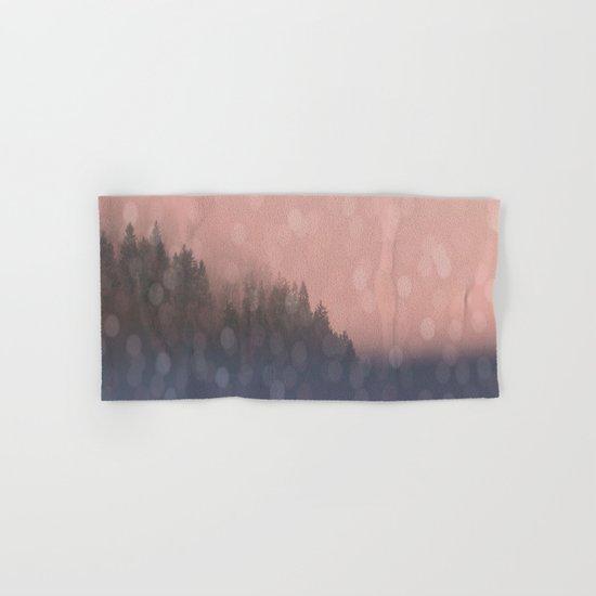 Frosty Morn, Pink Sunrise Forest Landscape Sparkles Hand & Bath Towel
