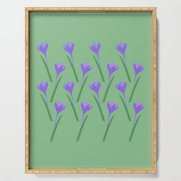 Spring purple Crocuses pattern Serving Tray