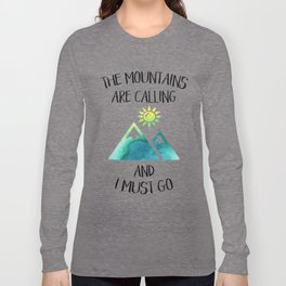 Mountains are calling green watercolor Long Sleeve T-shirt