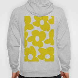 Large Yellow Retro Flowers on White Background #decor #society6 #buyart Hoody