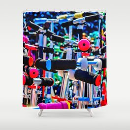 Colorful scooter handles Shower Curtain