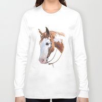 western Long Sleeve T-shirts featuring Western Horse by Natalia Elina