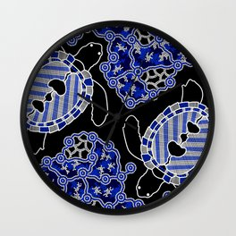 Turtles - Sea Turtle Dreaming - Aboriginal Art Wall Clock