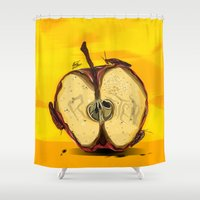 """lebron Shower Curtains featuring """"The Big Apple""""  by SaintCastro"""