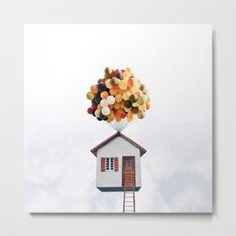 Flying House Metal Print