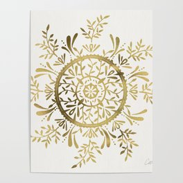 Leaf Mandala – Gold Palette Poster