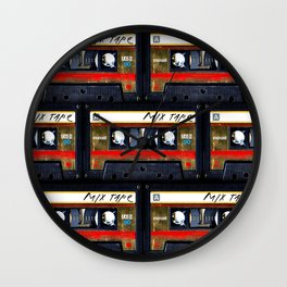 Retro classic vintage gold mix cassette tape Wall Clock