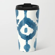 Painterly Flower Ikat Indigo Metal Travel Mug