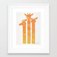 Giraffes – Orange Ombré Framed Art Print