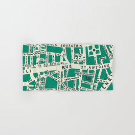 PARIS MAP GREEN Hand & Bath Towel