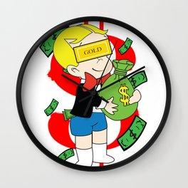 Rich Men Carrying $ Red Money Wall Clock