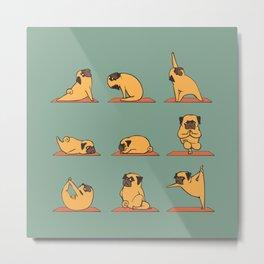 Pug Yoga Metal Print