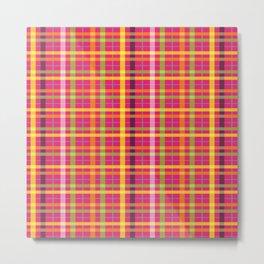 Plaid Pattern | Tartan Pattern | Multi-colored | Pink | Metal Print
