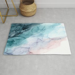 Beachy Pastel Flowing Ombre Abstract Rug