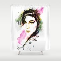 amy hamilton Shower Curtains featuring AMY by Ryan Huddle House of H