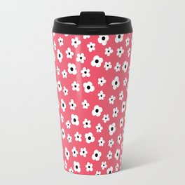 Coral White Spring Flower Pattern Travel Mug
