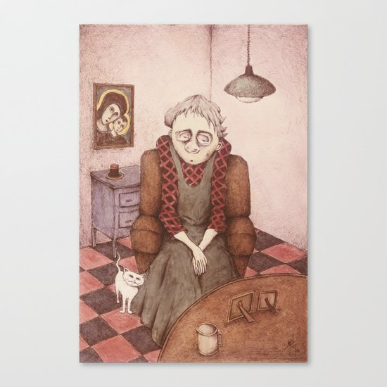 Old Woman and Cat Canvas Print