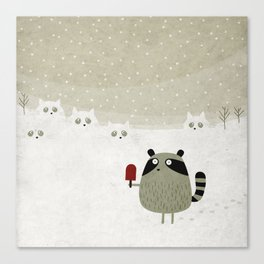 Raccoon and cats Canvas Print