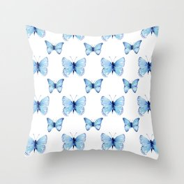 Blue Butterflies Pattern Butterfly Watercolor Throw Pillow
