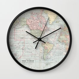 Vintage World Map (1901) Wall Clock