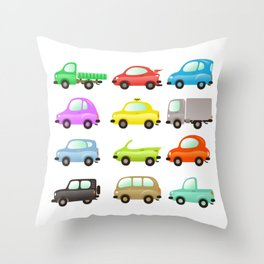 funny and colored vector cars on white Throw Pillow