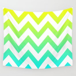 YELLOW & TEAL CHEVRON FADE Wall Tapestry