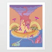 monkey island Art Prints featuring monkey by mleko