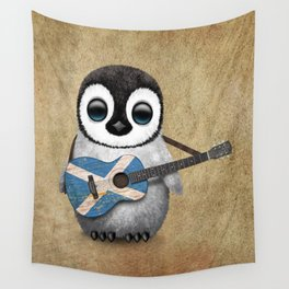 Baby Penguin Playing Scottish Flag Guitar Wall Tapestry