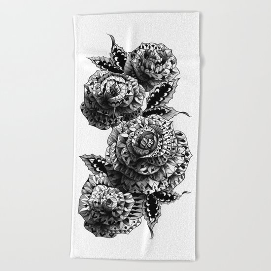 Four Roses Beach Towel