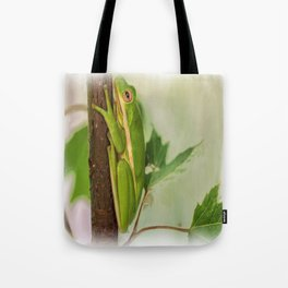 Painted Green Tree Frog Tote Bag