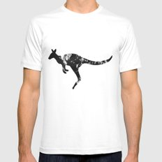 Kangaroo (The Living Things Series) MEDIUM White Mens Fitted Tee