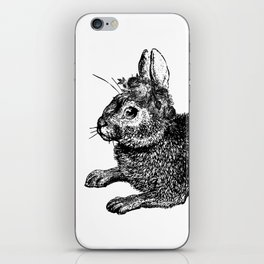 The Rabbit and Roses | Black and White iPhone Skin