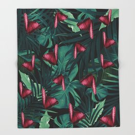 Tropical Butterfly Jungle Night Leaves Pattern #3 #tropical #decor #art #society6 Throw Blanket