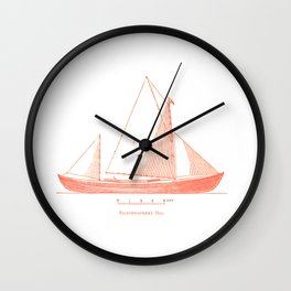 Conquer the sea on a red boat Wall Clock